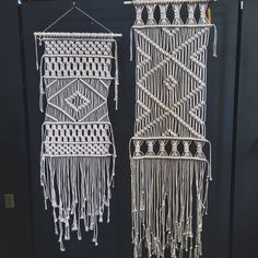 These are long modern macrame panel wall hangings. They look gorgeous beside a bed, beside each other or alone on a wall.  The long panel (pictured