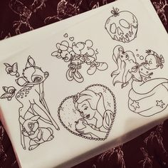 a few disney designs i drew up today, no doubt there will be a lot more to come.. all available at a discount rate for my portfolio, preferably full colour but can be black and grey or dot-shaded. got lots of space coming up before christmas! any other disney ideas from people?