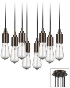 get multi swag adapeter $40 - and edisons, then do not need any shades.  pretty inexpensive for impactEuropa 8 Light Adjustable Bronze Swag Chandelier - #EUX9874-80507 - Euro Style Lighting