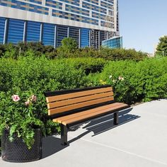 In-Ground Mounted Recycled Lumber Bench with Back #outdoorfurniture | National Business Furniture