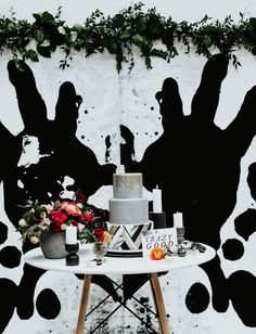 Inspired by Ink: An Edgy Wedding for the Artistic Couple - Green Wedding Shoes Reception Backdrop, Diy Wedding Backdrop, Wedding Entrance, Diy Backdrop, White Wedding Decorations, Wedding Themes, Wedding Cake, Wedding Ideas, Edgy Wedding