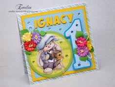 Emilia tworzy: Na roczek/Kartka na roczek dla chłopca/First birthday card Baby Cards, Cardmaking, Birthday Cards, Diy And Crafts, Lunch Box, Scrapbooking, Bday Cards, Birthday Greetings, Bento Box