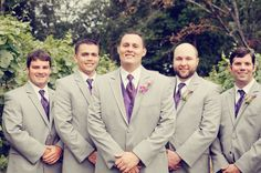 grey suits with purple idea....groom can wear vest but groomsmen don't
