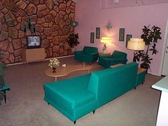 Turquoise accented mid-century modern living room.
