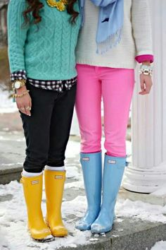 Discover this look wearing Yellow Rain Boots Hunter Boots, Aquamarine Mint Impressions Boutique Sweaters - BRRights by GracefulleeMade styled for Chic, Photo Shoot in the Winter Adrette Outfits, Preppy Outfits, Winter Outfits, Boot Outfits, Preppy Mode, Preppy Style, Style Me, Hunter Boots Outfit, Hunter Rain Boots