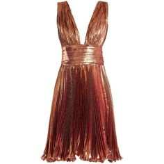 Maria Lucia Hohan Merida pleated lamé mini dress (2.460 RON) ❤ liked on Polyvore featuring dresses, cocktail dresses, maria lucia hohan, short dresses, rose gold, pleated cocktail dress, metallic mini dress, red metallic dress, pleated mini dress and short red cocktail dress