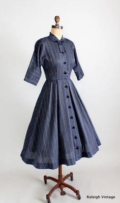 Vintage 1950s Striped Shirtwaist Day Dress via Etsy.