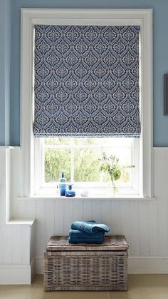 Hillarys Blue Patterned Bathroom Roman Blinds
