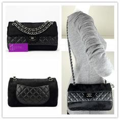 CHANEL medium flap black colour distressed leather/fur with silver hardware very good conditions ref.code-(COLT-1)
