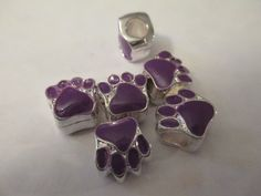 6 Silver Plated Purple Paw Print Euro Beads Craft Supplies