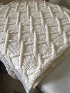Free Knitting Pattern for Lattice Cables Baby Blanket