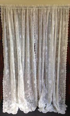 german lace curtains details about vtg german embr floral off white sheer net lace curtain. Black Bedroom Furniture Sets. Home Design Ideas