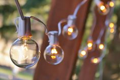 2 Inch E17 Bulbs 100 Foot White Wire C9 Strand Clear White Globe String Lights | Wedding Lights