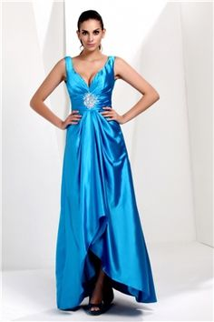 Sexy V Neck With Ruched Bodice And A Line Skirt In Slit Style Talines Long Hot Sell Plus Size Evening Dress. Beautiful! Saw one just like it at http://www.womensuitsupto34.com/