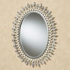 Giselle Pearl and Gem Oval Wall Mirror