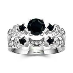 Moon and Star Theme Black Lab-created Diamond Women's Wedding Ring Set