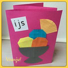 IJs - De website van vouwjuf! Preschool Crafts, Summer Time, Origami, Kindergarten, Restaurant, Camping, Map, Projects, Website