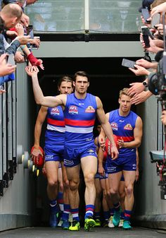 Easton Wood of the Bulldogs leads the team out during the 2016 AFL Grand Final match between the Sydney Swans and the Western Bulldogs at Melbourne...