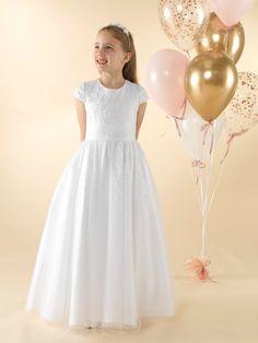 LWCD37 Communion Dress Girls Communion Dresses, First Holy Communion, Little White, Holi, Cap Sleeves, Bodice, Tulle, Flower Girl Dresses, Sequins