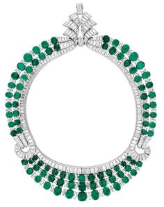 Vintage Van Cleef And Arpels Emerald And Diamond Necklace