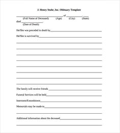 Sample Obituary Template - 11+ Documents in PDF, Word, PSD | KD ...