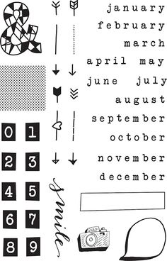 Snippets Months Stamp Set at Studio Calico Silhouette Cameo Freebies, Hand Lettering Fonts, Typography, Paper Supplies, Studio Calico, Travel Scrapbook, Free Wedding, Scrapbook Paper Crafts, Bookbinding