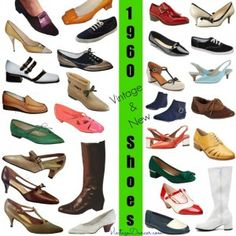 1960s shoes. Vintage and new 1960s shoe styles. So many fun designs, bright…