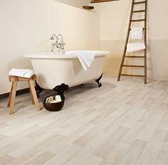 Want wood flooring in the bathroom, but afraid of water damage? Get the look with waterproof Sheet Vinyl Flooring by #IVCFloors