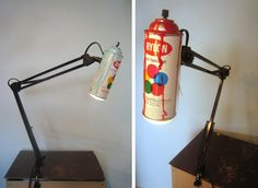 Jake Rankin turns used spray paint cans into desk lamps, with the spray nozzle as a switch.