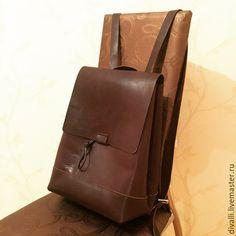 Купить Кожаный рюкзак Divalli B0022 - коричневый, однотонный, рюкзак, рюкзак женский, рюкзак кожаный