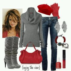 Winter outfits scarlet & grey fashionista trends pretty plus Cute Winter Outfits, Fall Outfits, Casual Outfits, Outfits With Grey Boots, Casual Wear, Gray Outfits, Vest Outfits, Casual Fall, Classy Outfits