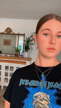Iron Maiden graphic tee black blue jewelry edgy gothic girl fashion Iron Maiden, Gothic Girls, Graphic Tees, Girl Fashion, Photo And Video, Blue, Outfits, Jewelry, Instagram