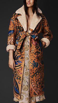 Burberry Prorsum Hand-painted Sheepskin Trench Coat