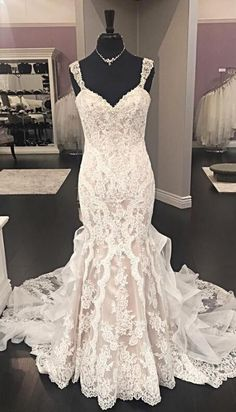 bridal gown wedding dress, mermaid long wedding dress, long wedding dress, white lace wedding dress, ivory lace wedding dress