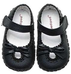 "Pedipeds for Girls - ""Sophia"" Black Leather Baby Shoes FREE SHIPPING"