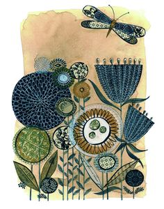 Hello, beautiful! | a meadow  11X14 GICLEE PRINT botanical collage by 29blackstreet, $38.00