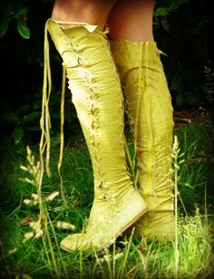 Chartreuse Yellow Croco Print Knee High Leather Boots... Can't decide if I like or not