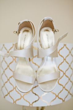 Ivory romantic bridal shoes. Photo from Vintage Romantic Wedding by Dear Darling Photography » KnotsVilla