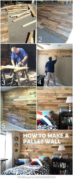 DIY Tutorial de cómo-a construir un muro de la plataforma para crear un rústico + ambiente cálido a un espacio. Un montón de trabajo pero libre! Tutorial @ www.JennaBurger.com