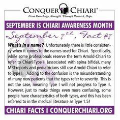 Chiari Fact #7! September is Chiari Malformation Awareness Month.
