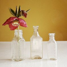 vintage glass bottles set of 3 – available at AtticAntics