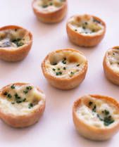 This little quiches are wonderful served as appetizers at a holiday party. You can make them ahead of time and freeze them; they reheat beautifully.