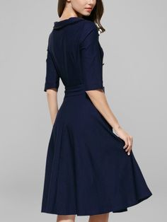 Trendy Double-breasted Bowknot Belted Casual Dress