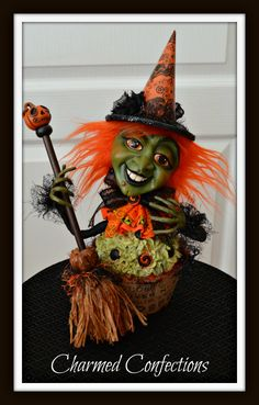 Ghoulie Cake Witch by LeeAnn Kress www,charmedconfections.com https://www.facebook.com/charmedconfectionsfolkart