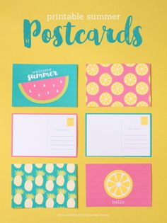 free summer postcards printable with bright and colorful watermelon, pineapple, and lemon designs