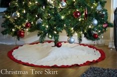 what a simple christmas tree skirt by MERR Diy Christmas Tree Skirt, Christmas Tree Cupcakes, Burlap Christmas Tree, Crochet Christmas Trees, Handmade Christmas Tree, Christmas Tree Design, Christmas Mom, Christmas Projects, Simple Christmas