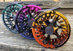 Orange, yellow, pink, purple, blue all in a fly fishing reel! Usa Fishing, Fishing Books, Going Fishing, Carp Fishing, Trout Fishing, Fishing Reels, Fishing Tips, Fishing Lures, Women Fishing