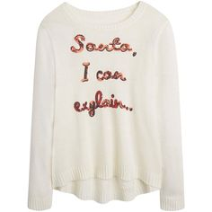 Christmas Santa I Can Explain Jumper (230 NOK) ❤ liked on Polyvore featuring tops, sweaters, shirts, white christmas sweater, jumpers sweaters, jumper top, christmas sweater and white top