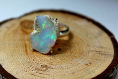 Rough Opal Ring Natural Opal Silver Ring Opal Stone by SagesLeaf Raw Opal, Rough Opal, Natural Opal, Opal Rings, Birthstones, Gemstone Jewelry, Sterling Silver Rings, Opal Birthstone, Handmade Jewelry