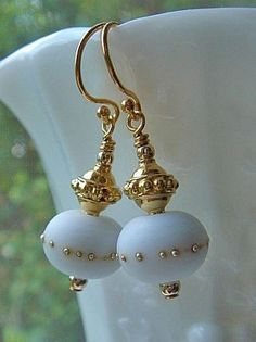 Gold Lampwork Earrings with Gold Vermeil and White Handmade Lampwork Beads